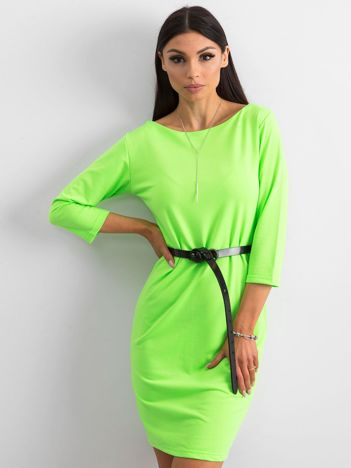 Fluo zielona sukienka z bawełny