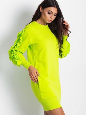 Fluo zielona sukienka z falbanami na rękawach