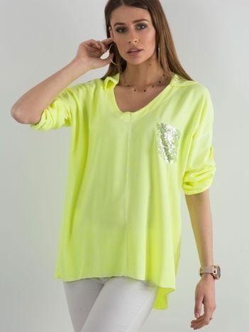 Fluo żółta bluzka damska z cekinową kieszenią