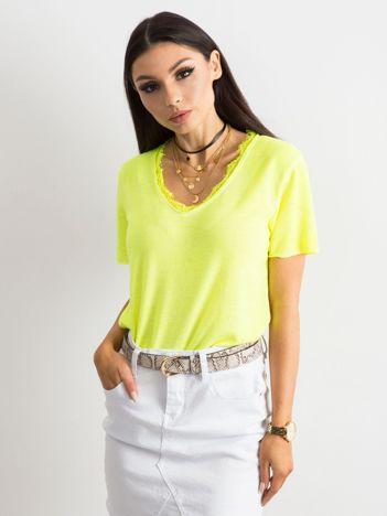 Fluo żółta bluzka z krótkim rękawem
