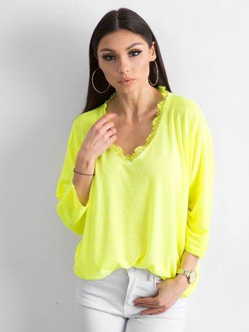 Fluo żółta luźna bluzka w serek