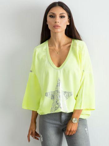 Fluo żółta luźna bluzka z nadrukiem