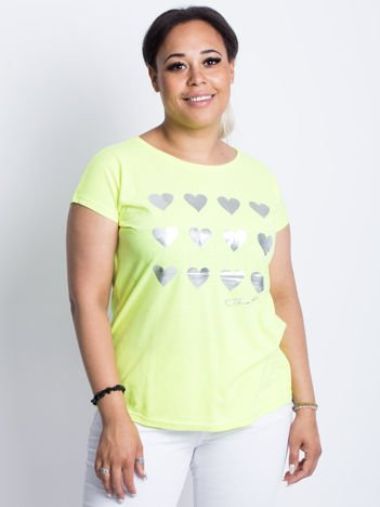 Fluo żółty t-shirt plus size Hearties