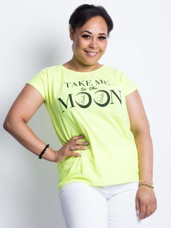 Fluo żółty t-shirt plus size Moonraker