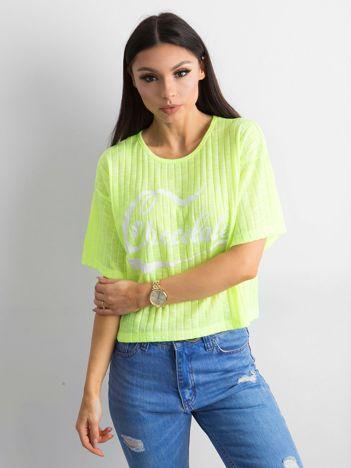 Fluo żółty t-shirt w prążek z napisem