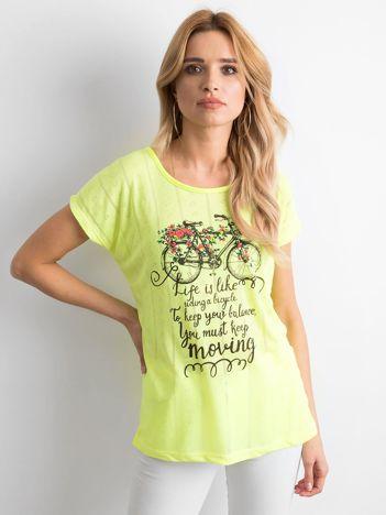 Fluo żółty t-shirt z nadrukiem