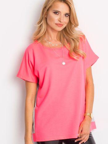 Fluoróżowo-szara bluzka oversize z falbanką
