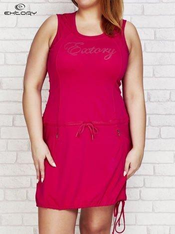 Fuksjowa sukienka sportowa z kieszeniami na suwak