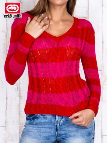 Fuksjowy sweter w paski