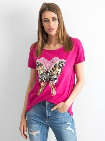 Fuksjowy t-shirt oversize Butterfly