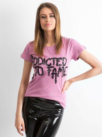 Funk N Soul Jasnofioletowy t-shirt z napisem z cekinów