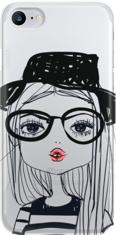 Funny Case ETUI IPHONE 7 GIRL WITH PINK LIPS