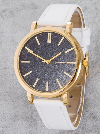 GLITTER OMBRE biały zegarek damski