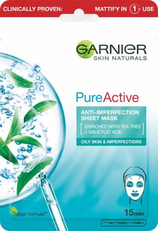 """Garnier Skin Naturals Pure Active Oczyszczająca Maska na tkaninie do cery tłustej i z niedoskonałościami 23g"""""""