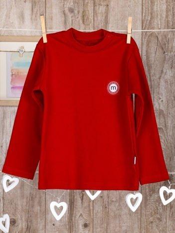 Gładka bawełniana bluzka dziecięca z naszywką czerwona