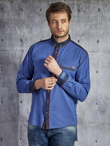 Gładka bawełniana koszula męska z ozdobną listwą niebieska PLUS SIZE