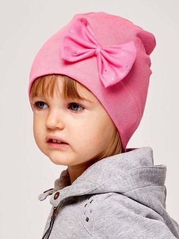 Gładka dziewczęca czapka z ozdobną kokardką różowa