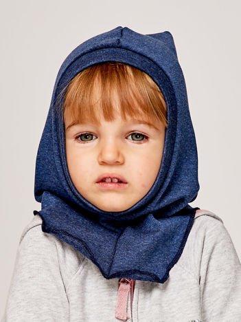 Gładka kominiarka dziewczęca z luźnym czubkiem ciemnoniebieska