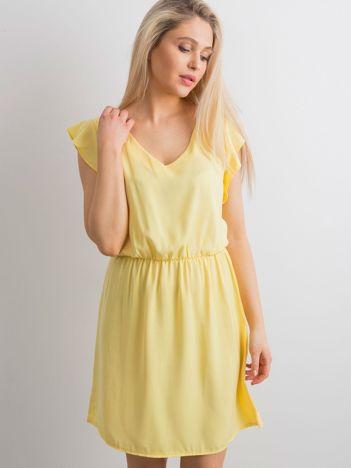 Gładka sukienka żółta