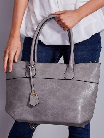 Gładka torba shopper z odpinanym paskiem szara