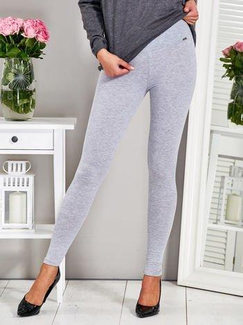 Gładkie dopasowane legginsy szare