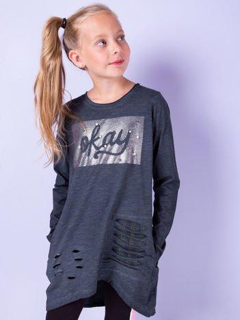 Grafitowa bawełniana tunika dla dziewczynki