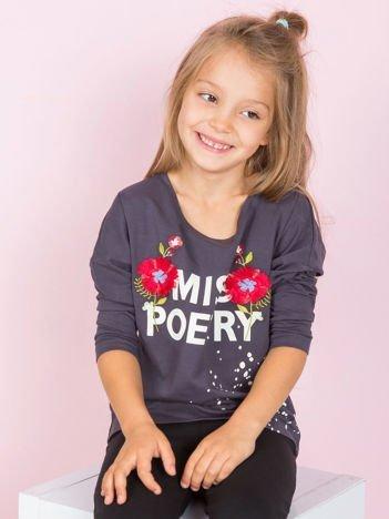 Grafitowa bawełniane bluzka dziewczęca z folkowym nadrukiem