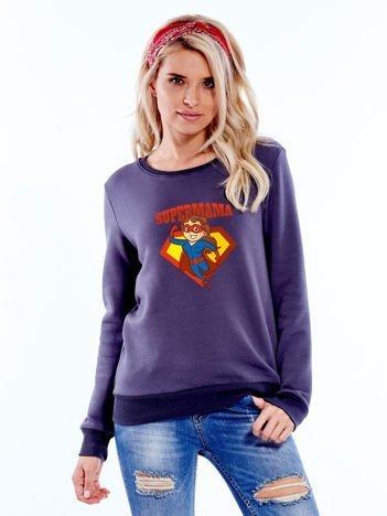 Grafitowa bluza damska SUPER MAMA brunetka