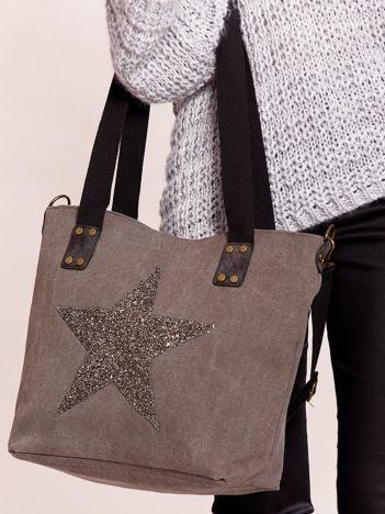 Grafitowa materiałowa torba z gwiazdą