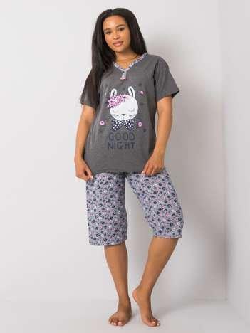 Grafitowa piżama plus size z nadrukiem