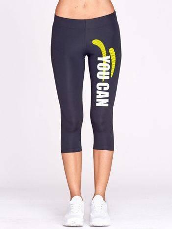 Grafitowe krótkie legginsy sportowe z nadrukiem