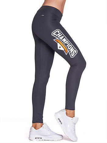 Grafitowe legginsy na siłownię z nadrukiem CHAMPIONS