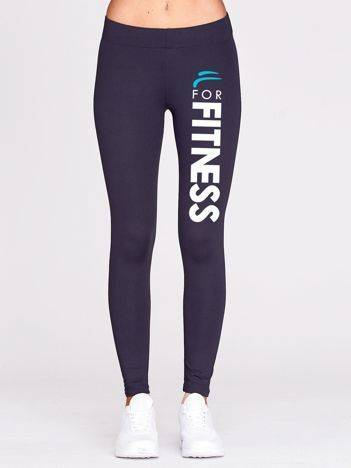 Grafitowe legginsy na siłownię z nadrukiem na nogawce