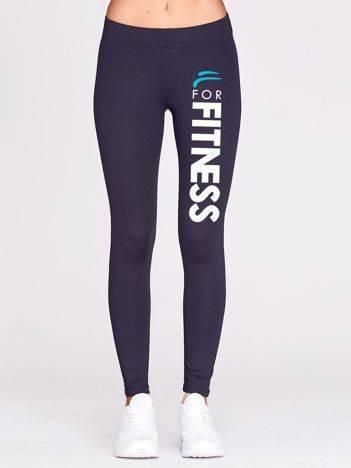 Grafitowe legginsy sportowe z nadrukiem na nogawce