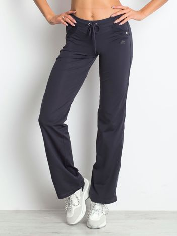 Grafitowe spodnie dresowe z aplikacją