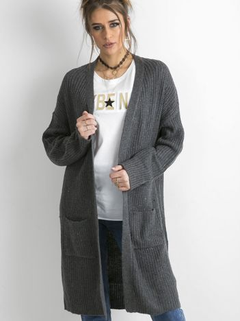 Grafitowy długi sweter z dzianiny