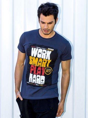 Grafitowy t-shirt męski Work Smart