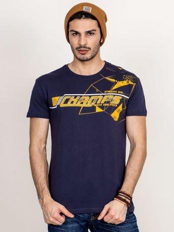 Grafitowy t-shirt męski z kolorowym napisem