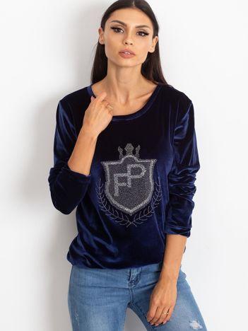 Granatowa aksamitna bluza z herbem z dżetów