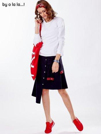 Granatowa asymetryczna spódnica BY O LA LA