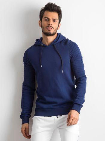 Granatowa bawełniana bluza męska z troczkami