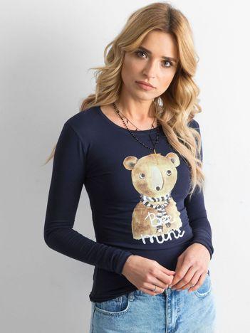 Granatowa bawełniana bluzka z nadrukiem