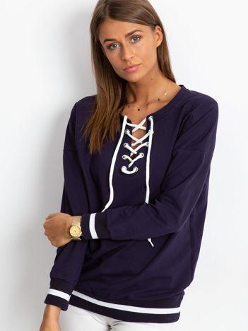 Granatowa bluza damska lace up