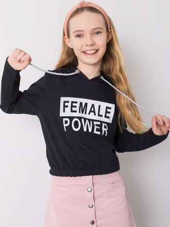 Granatowa bluza dla dziewczynki z napisem