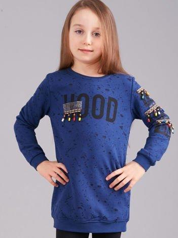 Granatowa bluza dziewczęca z nadrukiem i koralikami