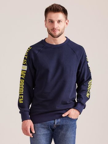 Granatowa bluza męska z napisem na rękawach