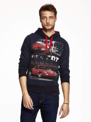Granatowa bluza męska z samochodowym nadrukiem