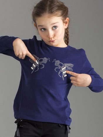 Granatowa bluzka dla dziewczynki z błyszczącą aplikacją