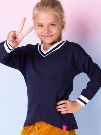 Granatowa bluzka dziewczęca V-neck ze ściągaczami