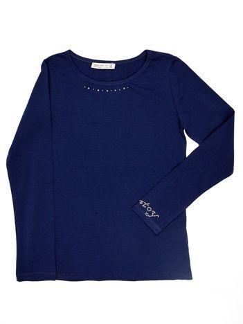 Granatowa bluzka dziewczęca basic z dżetami